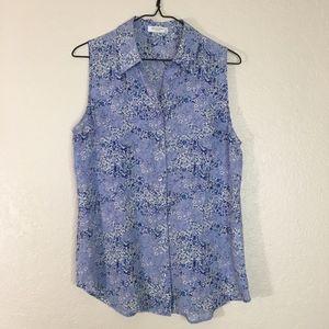 Equipment Femme blue floral silk sleeveless blouse